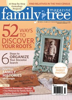 Free Printable Basic charts and Worksheets  >     Family Tree Magazine January/February 2013 issue cover