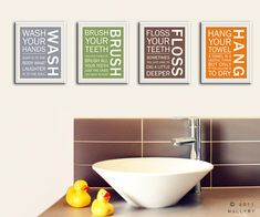 Bathroom art prints. Bathroom Rules. Kids bathroom wall by Wallfry