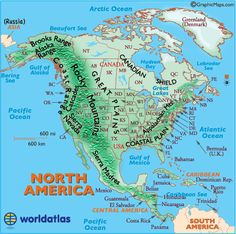 Landforms of North America, North American Mountain Ranges, Physical map of North America, United States Mountains