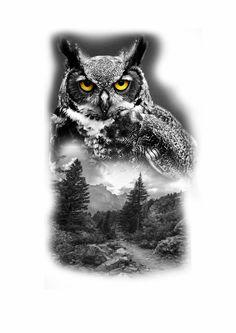 Forest Tattoos, Nature Tattoos, Body Art Tattoos, Nature Tattoo Sleeve, Sleeve Tattoos, Owl Tattoo Design, Tattoo Designs, Realistic Owl Tattoo, Rabe Tattoo