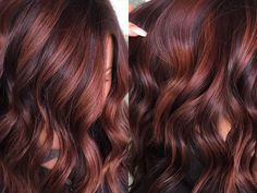 Ideal for clients who aren't ready to fully commit to red, the color combo mixes deep reds and browns for the perfect warm shade. Deep Red Hair Color, Fall Hair Color For Brunettes, Red Brown Hair, Hair Color Auburn, Burgundy Hair, Hair Color Highlights, Black Hair, Deep Auburn Hair, Red Balayage Highlights
