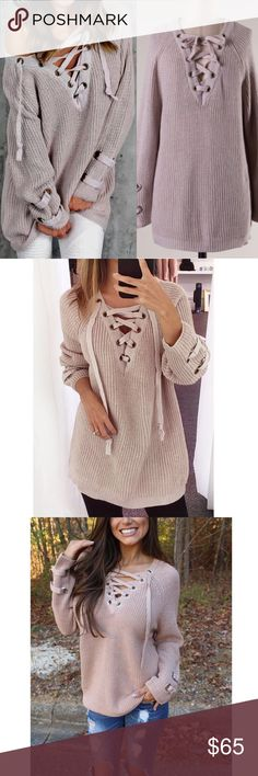1 HR SALEALIA solid sweater tunic top - BLUSH solid sweater tunic with criss cross self-tying strap.   PLS NOTE SLEEVE LENGTH WILL VARY DEPENDING ON EACH PERSONS HEIGHT & ARM LENGTH   NO TRADE   PRICE FIRM Bellanblue Tops Tees - Long Sleeve