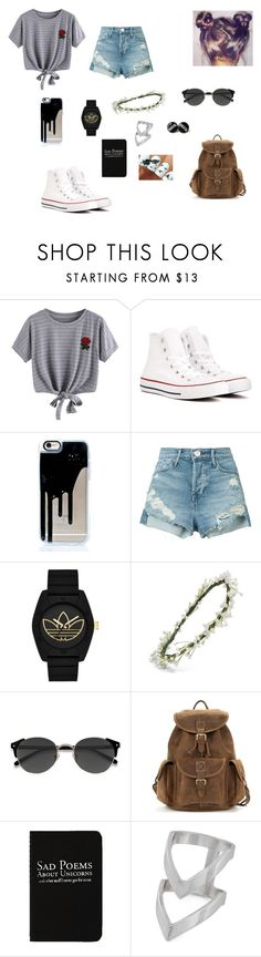 """""""Flower crown"""" by urielectric ❤ liked on Polyvore featuring WithChic, Converse, 3x1, adidas, Emily Rose Flower Crowns, EyeBuyDirect.com and Rich and Damned"""