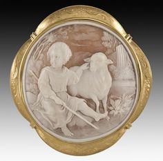 "garofalo cameo ~""El Buen Pastor"" (The Good Shepherd), after Murillo depicting Christ as a youthful shepherd. Signed Garofalo. 18K gold mount. 3.75""H x 3.5""W, Circa - Third quarter 20th C., http://www.liveauctioneers.com/item/6104826, Estimate	 $2,000 - $4,000  Starting Bid $1,000"