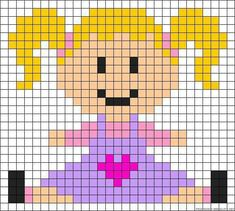 Little girl perler bead pattern Pony Bead Patterns, Loom Patterns, Beading Patterns, Cross Stitch Designs, Cross Stitch Patterns, Pixel Art, Broderie Simple, Stitching On Paper, Seed Bead Crafts