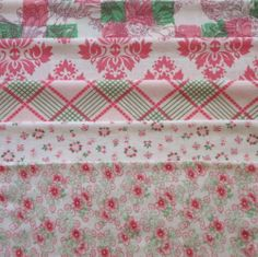 VINTAGE FEEDSACK FABRIC ~ Gorgeous Pink Green Scrap Bag Lot Cotton Flour Sacks