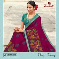 Material: Chiffon Occasion: Engagement, Wedding Work: Embroidered Border Lace, Thread work, Embroidery Blouse, Gota Fabric Piping Colour: Multicolor