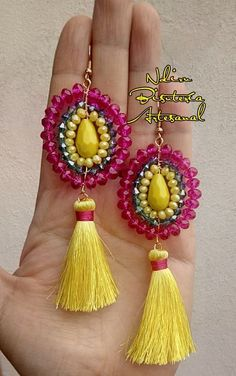 Tassel Earing, Tassel Jewelry, Clay Jewelry, Beaded Jewelry, Silk Thread Necklace, Thread Jewellery, Handmade Beads, Earrings Handmade, Handmade Jewelry