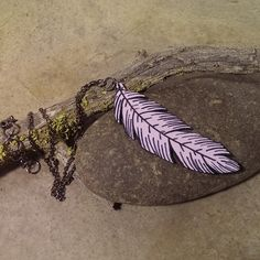 Painted feather necklace painted wood pale lavender and black  by CrowsdanceDesigns, $35.00 USD