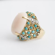 18 Karat Gold, Coral, Turquoise and Diamond Ring Coral Turquoise, Cocktail Rings, 18k Gold, Gemstone Rings, Diamond, Jewelry, Jewellery Making, Jewerly, Jewelery