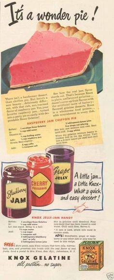 Raspberry Jam Chiffon Pie Recipe From Knox Gelatine Retro Recipes, Old Recipes, Vintage Recipes, Cookbook Recipes, Cooking Recipes, 1950s Recipes, Blender Recipes, Vintage Cooking, Vintage Food