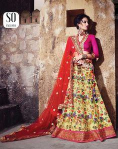 Ghagra Choli Mariage Florale Naadiya Multicolore