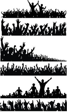 Silhouette of a crowd of people with their hands raised vector Silhouette Cameo, Silhouette Vector, Soccer Silhouette, Person Silhouette, Crowd Drawing, Studio Background Images, Photoshop, Free Vector Graphics, Grafik Design