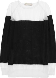 Stella McCartney Two tone silk and mesh sweater Stella McCartney