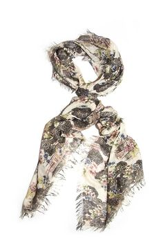 Elegant flower design with a light background. Light-weight material is perfect to complete any outfit as a shawl or scarf.  Flower Fantasy Scarf by Kaskol. Accessories - Scarves & Wraps Dallas Texas