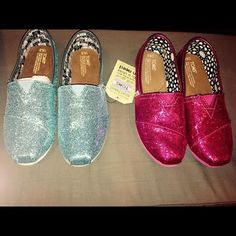 TOMS size 4.5 youth size. TOMS size 4.5 youth size. 2 pair - pink and turquoise glitter. Pink pair only worn a few hours. Turquoise pair never worn.  Price indicated is per pair, not for both. TOMS Shoes Flats & Loafers