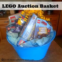LEGO Auction Gift Baskets for school fundraiser auction! Raffle Gift Basket Ideas, Kids Gift Baskets, Raffle Baskets, Raffle Ideas, Gift Ideas, Prize Ideas, Party Ideas, School Auction Baskets, Silent Auction Baskets