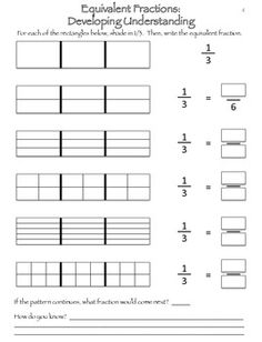Good way to help develop a true understanding of equivalent fractions!
