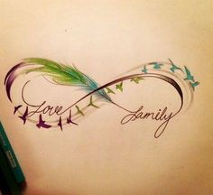 Infinity Feather and birds Tattoo