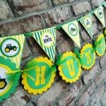 Tractor Birthday Party Name and Pennant Banner
