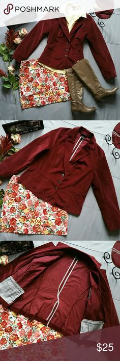 """LANE BRYANT BURGUNDY CORDUROY BLAZER *PERFECT FALL AND HOLIDAY BLAZER. GREAT FOR WORK OR JUST PULLING A MORE CASUAL LOOK TOGETHER. *IN EXCELLENT PRE-OWNED CONDITION *LOFT SKIRT, ANN TAYLOR BUTTON DOWN & MIA BOOTS ALL SOLELD SEPARATELY! *SHELL 99% COTTON 1% SPANDEX  *LINING 100% POLYESTER  *MACHINE WASHABLE *ALL MEASUREMENTS ARE APPROX & TAKEN LYING FLAT. *SLEEVES 25.5"""" *BUST 46"""" *SHOULDER TO WAIST 21.5"""" *ACROSS BACK SHOULDER SEAMS 18"""" *PRICE IS FIRM FOR NOW UNLESS BUNDLED *STORED IN…"""