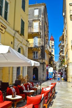 The colorful streets of Corfu Town wow with Venetian-inspired architecture - Corfu, Greece  #travel #greece #corfu #islands