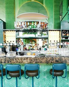 An awesome tropical pattern at Bar Botanique Amsterdam by @hipaholic
