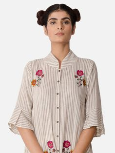 Off White Striped Hand Embroidered Cotton Kurta