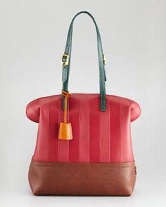 Fendi Pequin Tonal-Stripe Leather Bag
