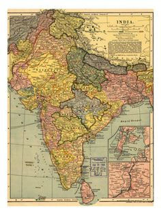 1902 Map of India, Then a Colony Within the British Empire, Showing Internal Boundaries Premium Poster at Art.com
