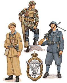 Regio Esercito - • Tenente, Battaglione Genieri d'Assalto della Regia Aereonautica (ADRA) • Paracadutista, 1° Battaglione Parà della Regia Areonautica • Primo aviere, Battaglione 'Loreto'