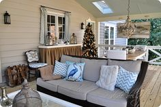 how to decorate with burlap for christmas | added a white fur pillow and fleecy throw (both things I already had ...