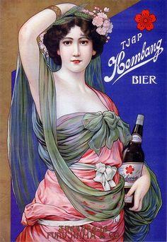 Das Kunstwerk Japan: Advertising poster for Kembang Beer -  liefern wir als Kunstdruck auf Leinwand, Poster, Dibondbild oder auf edelstem Büttenpapier. Sie bestimmen die Größen selbst.