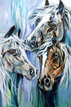 Spirit Horses Painting by Rae Andrews - Spirit Horses Fine Art Prints and Posters for Sale
