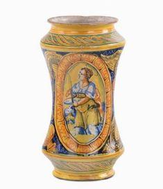 Albarello in maiolica policroma, Palermo XVIII secolo