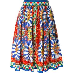 Dolce & Gabbana Carretto Siciliano print skirt (23,505 MXN) ❤ liked on Polyvore featuring skirts, multicolour, high rise skirts, high-waisted skirts, mid length a line skirt, cotton skirt y a-line skirt