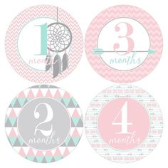 SALE Set of 12 Round Monthly Stickers Tribal Designs in Pink, Mint and Gray…
