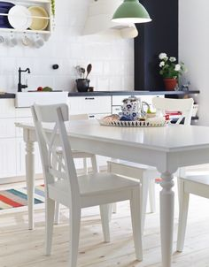 Ikea Dining Room Table and Chairs . Ikea Dining Room Table and Chairs . White Dining Room Ikea Dining Table and Chairs Ikea Dining Table, Kitchen Table Chairs, White Dining Table, Dining Room Sets, Dining Room Design, Room Chairs, Nook Table, Small Dining, Round Dining