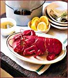 Boiled Lobster with Pepper Butter - New England on Food & Wine Connecticut Recipe, Indian Pudding, Italian Dining, Crab Cakes, Sea Food, Fish And Seafood, Wine Recipes, Chowder, Italian Recipes