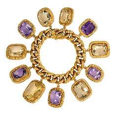 Antique Citrine and Amethyst Charm Bracelet in 18k Gold