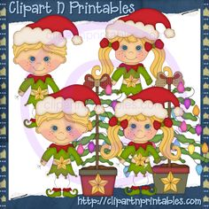 Stick Christmas Elves Blonde- #Clipart #ResellableClipart #ResellerClipart #Christmas #Elves #Elf #Star #ChristmasTree #Ornaments