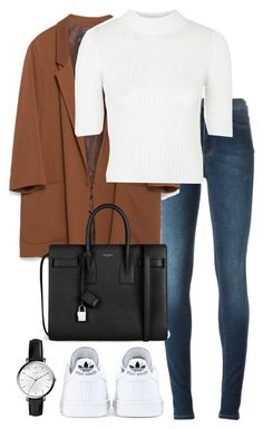 """""""Untitled #2342"""" by elenaday ❤ liked on Polyvore featuring Acne Studios, Zara, Topshop, adidas, Yves Saint Laurent and FOSSIL"""
