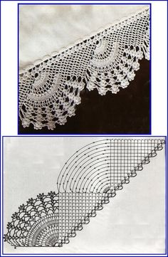 How to Crochet Wave Fan Edging Border Stitch Crochet Edging Patterns, Crochet Lace Edging, Crochet Motifs, Crochet Borders, Crochet Diagram, Tatting Patterns, Crochet Chart, Thread Crochet, Filet Crochet