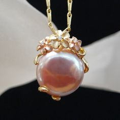 Denny Wong 18K Plumeria and Cultured Freshwater Pearl Pendant
