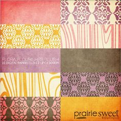 12x12 Digital Paper Collection  Flora by PrairieSweetBoutique, $9.99
