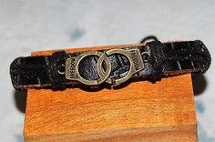 bracelet+homme+/+femme+réglable+cuir+et+médaille+de+bronze++grand+model++breloque,+amulette+love+amour+menottes+enlacées