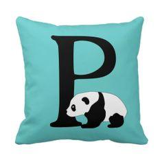 initial letter P on cute panda pillow - Zazzle