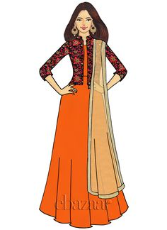 Ethnovogue Custom Made Embroidered Anarkali Suit Fashion Design Drawings, Fashion Sketches, Fashion Illustrations, Abaya Fashion, Fashion Art, Salwar Designs, Cotton Shirt Dress, Dress Sketches, Anarkali
