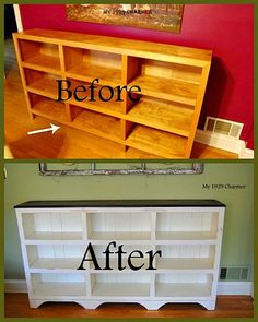 Cottage Bookcase - before and after