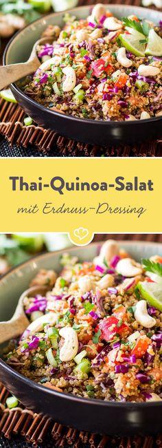 Ein bisschen nussig, ein bisschen scharf, ein bisschen süß. Das Erdnuss-Ingwer-Dressing verleiht diesem Quinoa-Salat eine asiatische Note.